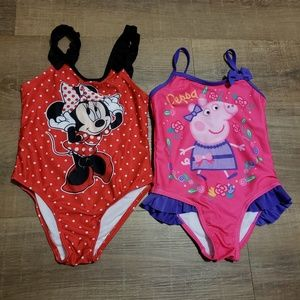 Other - Girls swim suits Peppa Pig Minnie Mouse 4t